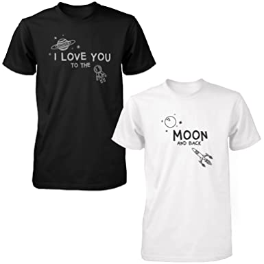 9f4a71e915 Amazon.com: I Love You to The Moon and Back Cute Couple Shirts Black and White  Matching Tee: Clothing