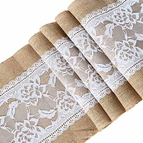 ARKSU 10Packs Burlap Table Runner with White Lace Trim 12 X 108 inch, No-fray Jute Hessian Vintage Rustic Natural Wedding Christmas Country Outdoor Decor]()