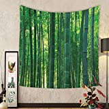 Gzhihine Custom tapestry Bamboo House Decor Tapestry Bamboo Leaf Illustration Icon for Wellbeing Health Fresh Purity Tranquil Art Print Bedroom Living Room Dorm Decor 60 x 80 Green White