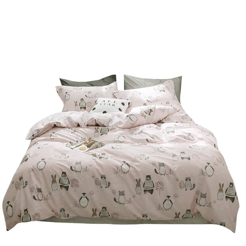 BuLuTu Animal Kids Duvet Cover Queen Pink Girls 100% Cotton,Premium Reversible 3 Pieces Toddler Bedding Sets Full Zipper Closure,Raccoon Rabbit Bear Print,No Comforter
