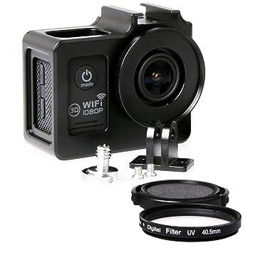 SJ4000 con carcasa de aleación de aluminio 40,5 mm Filtro UV y tapa de objetivo protector para SJCAM SJ4000 Serie (negro)