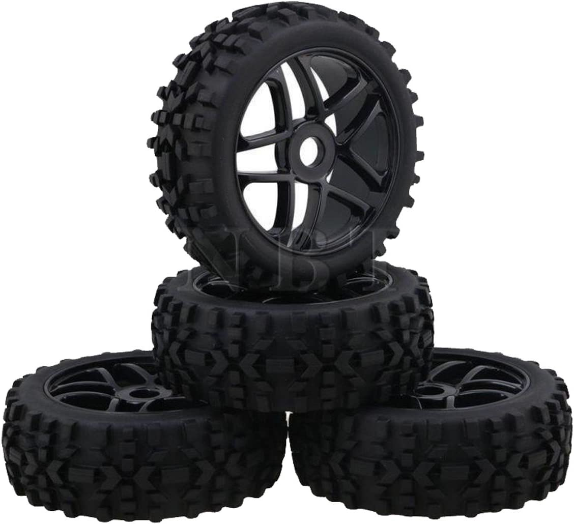 powerday 17mm Hub Wheel Rim /& Tires Tyre OD-118mm for 1//8 Off-Road RC Buggy Truck(4pcs)