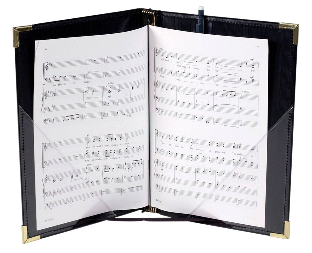 Marlo Plastics Premium Choral Folder 7-3/4 x 11 Octavo Size with Elastic String Holders - Black by Marlo Plastics 750665