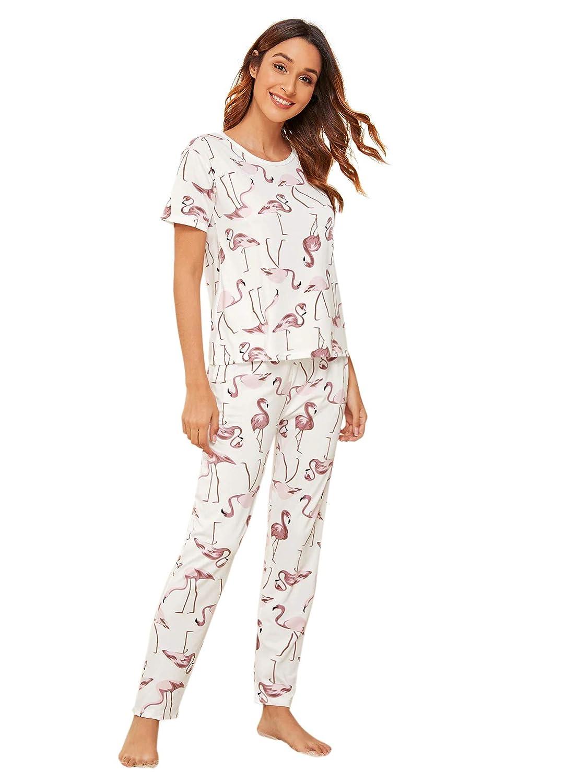 DIDK Womens Cartoon Print Top and Polka Dot Pants Pajama Set