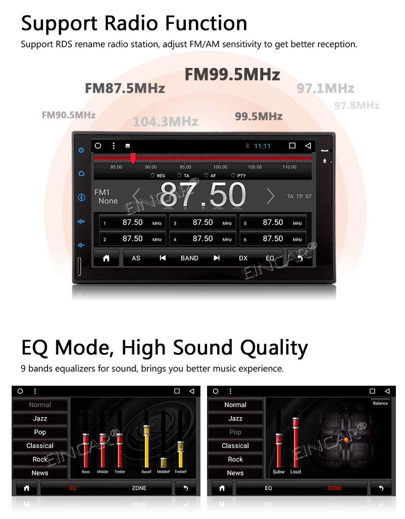 """EINCAR Unidad DIN Cabeza Android Doble Android 9.0 est/éreo Bluetooth Coche con 7/"""" Pantalla t/áctil 2 DIN Car Stereo Ayuda del Jugador de Sistema de navegaci/ón GPS Radio Reserva de la c/ámara WiFi US"""
