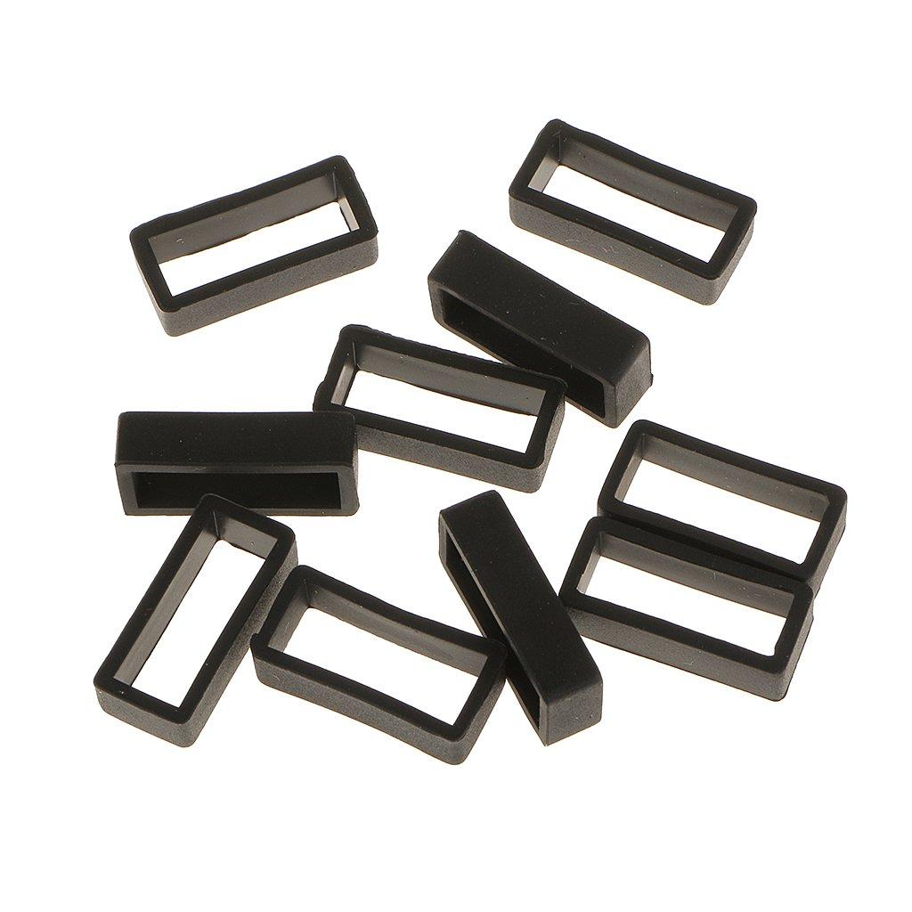 MagiDeal 10x Cinturino In Gomma Piccolo Sostituzione Cinghia Banda Loop Titolare per Orologio Nero - 18 mm