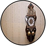 Printing Round Rug,Clock Decor,An Antique Wood Carving Clock with Roman Numerals Hanging on the Wall Design Mat Non-Slip Soft Entrance Mat Door Floor Rug Area Rug For Chair Living Room,Brown and Tan