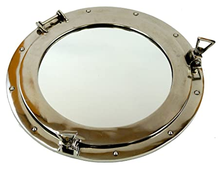 Firefly Home Collection Aluminium Porthole Wall Decor with Mirror, 17 , Chrome