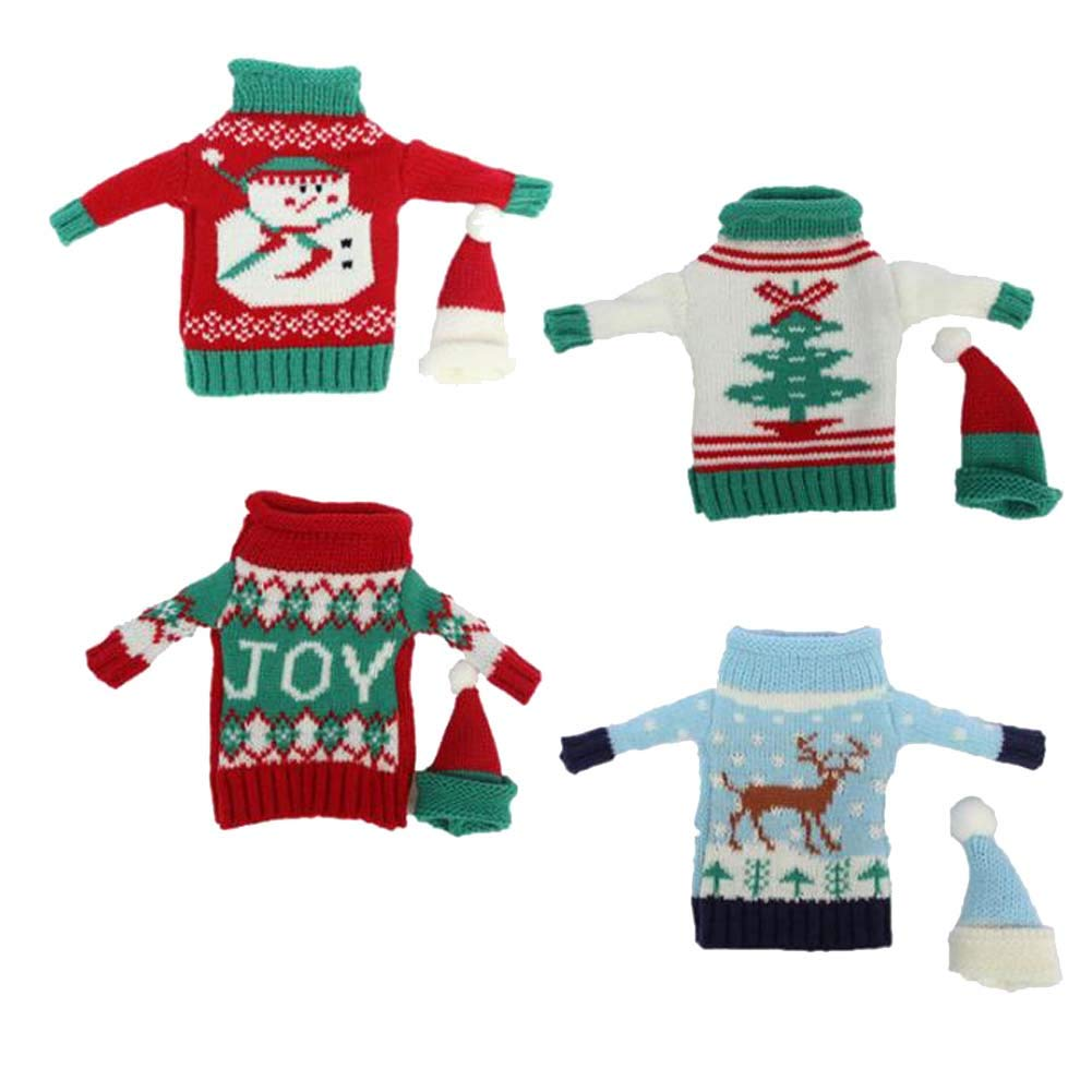 SHENGZ Christmas Sweater Knit Wine Bottle Covers Snowman Xmas Tree Elk and Joy Wine Bottle Cover Holiday Party Decoration 4Sets
