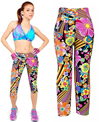 Alta Up Donna Yoga Leggins Pantaloni 4 Collant Pantaloni 5 Leggings Colore 3 Push Fliegend Stampa Vita Elastici da Sportivi zHOq4