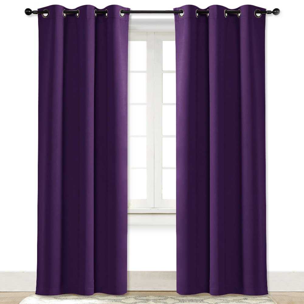 NICETOWN Energy Saving Blackout Darkening Drape Triple Weave Home Decoration Thermal Insulated Solid Ring Top Blackout Curtain/Drape for Bedroom(Single Panel, 42 x 84 inch, Royal Purple)