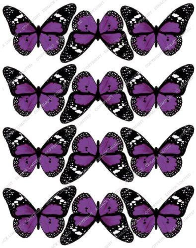 Cakeshop 12 x PRE-CUT Purple Edible Butterfly Cake