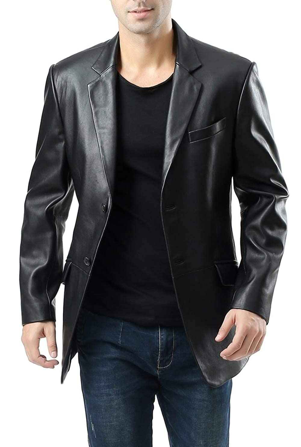 Number Seven Black Leather Blazer for Men Two Button