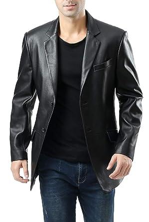 Vestes en cuir noir homme