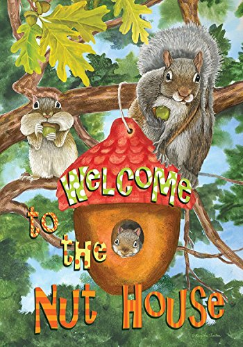 Welcome to the Nut House Summer Garden Flag Humor Squirrels Tree House 12.5″x18″