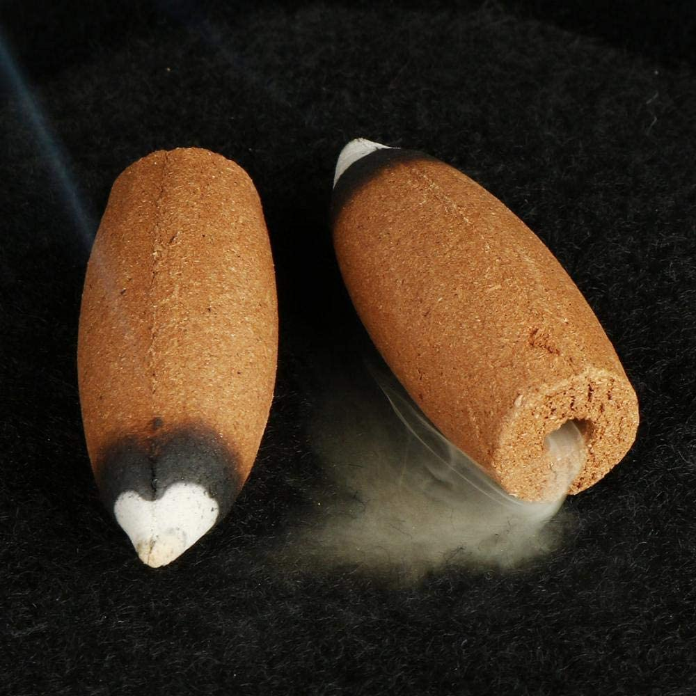 60PCS Agarwood Backflow Incense Cones Natural Fragrant Cone for Backflow Incense Holder