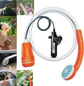 LUOOV - Bomba de ducha portátil para acampada, con dos pilas USB ...