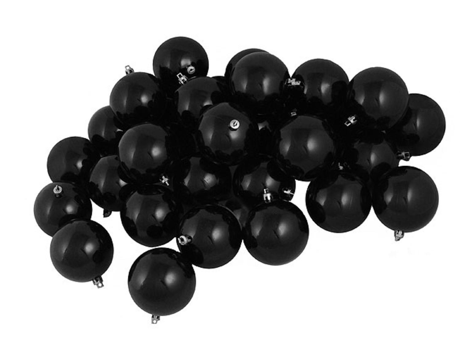 Northlight 32 Count Shatterproof Shiny Jet Black Christmas Ball Ornaments, 3.25''