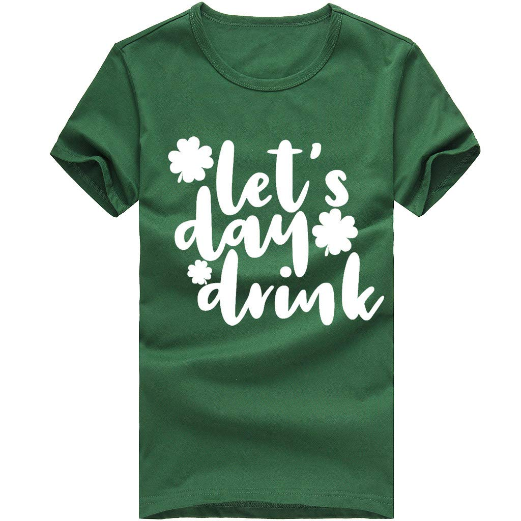 Corriee Summer Tops for Men Women Casual Short Sleeve Slim Fit Graphic Letter Print T-Shirts Blouse Green