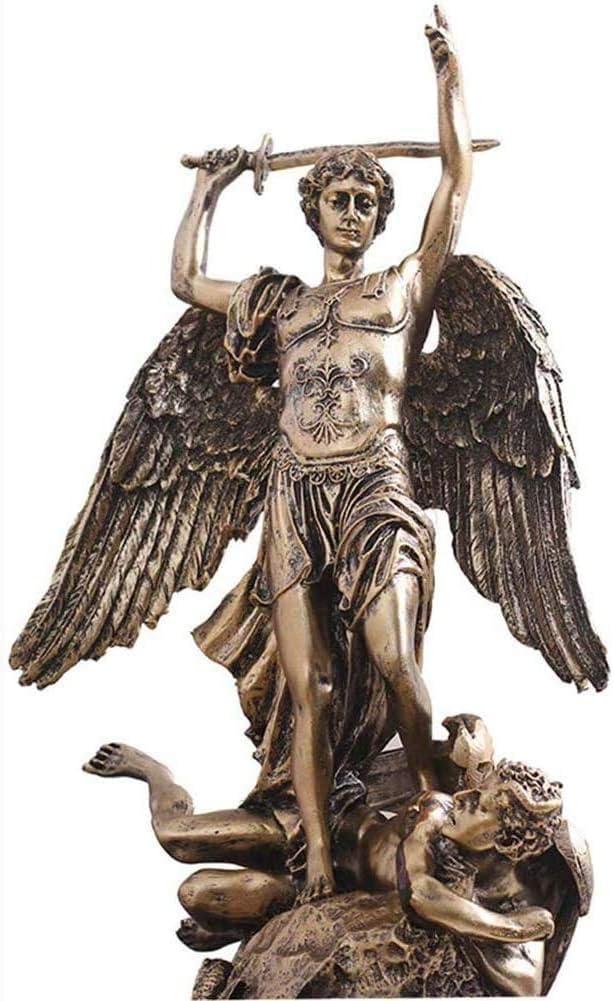 ZXCVB Estatuas Altas de San Miguel Arcángel, Bronce Fundido, Figuras del Dios Griego San Miguel Matando al Diablo Lucifer (15 x 9 x 9 Pulgadas)