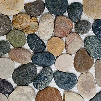 Mosaik Fliese Flusskiesel Steinkiesel Schwarz Kiesel Flach Beige Grau