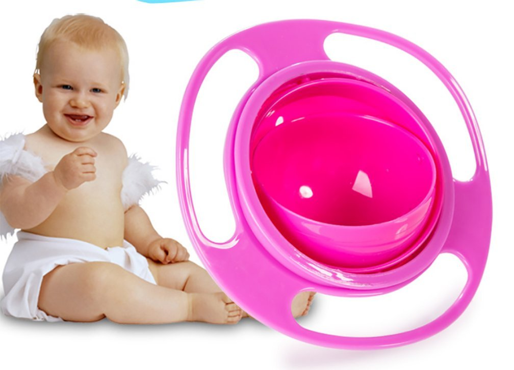 Reizbaby 360 Degree Rotation Balance Bowl Gyro Bowl Baby Bowl No Sprinkle No Spill (pink) YZ6018
