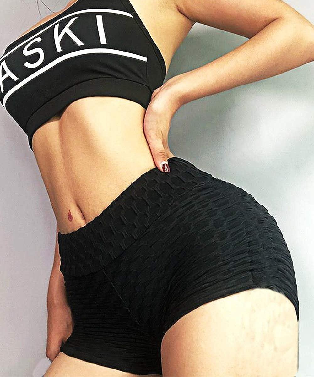 RIOJOY Workout Ruched Butt Sports Shorts Bottom High Waist Honeycomb Textured Butt Lifting Push Up Running Yoga Fitness Shorts