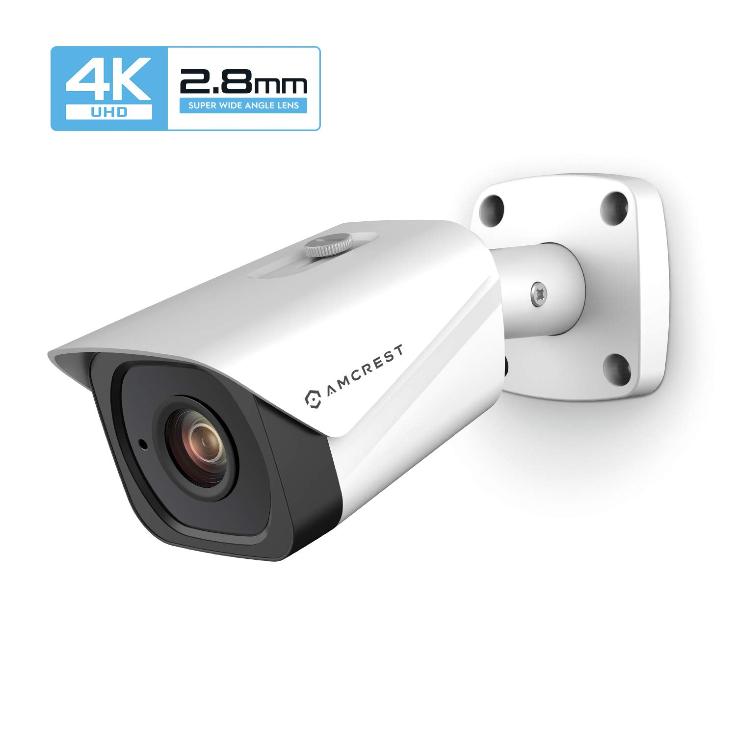 Amcrest UltraHD 4K (8MP) Outdoor Bullet POE IP Camera, 3840x2160, 131ft NightVision, 2.8mm Lens, IP67 Weatherproof, MicroSD Recording, White (IP8M-2496EW-28MM) by Amcrest