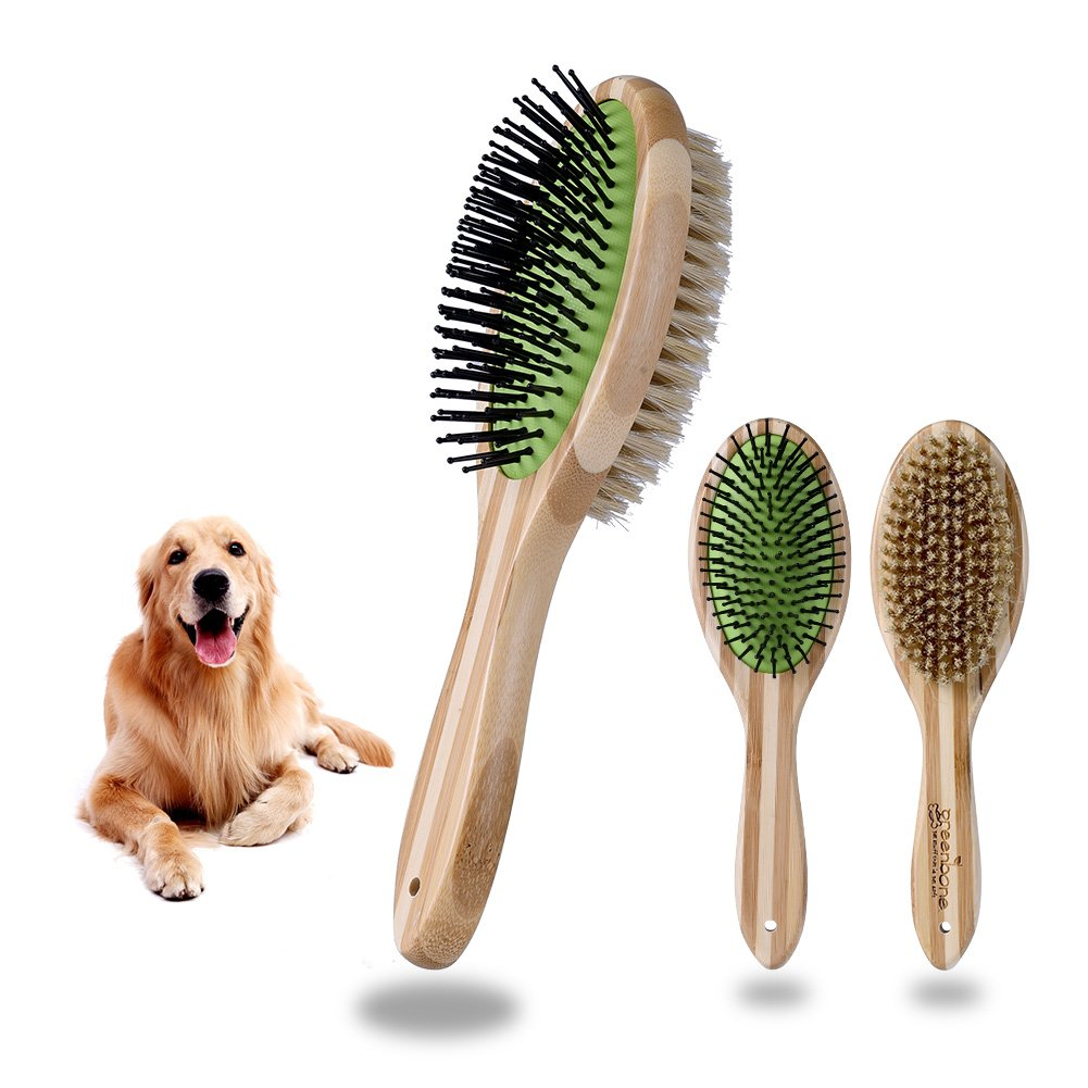 Petacc Natural Bamboo Eco Friendly Pet Grooming Dog and Cat Dual Sided Pin and Bristle Pet Deshedding Hair Brush
