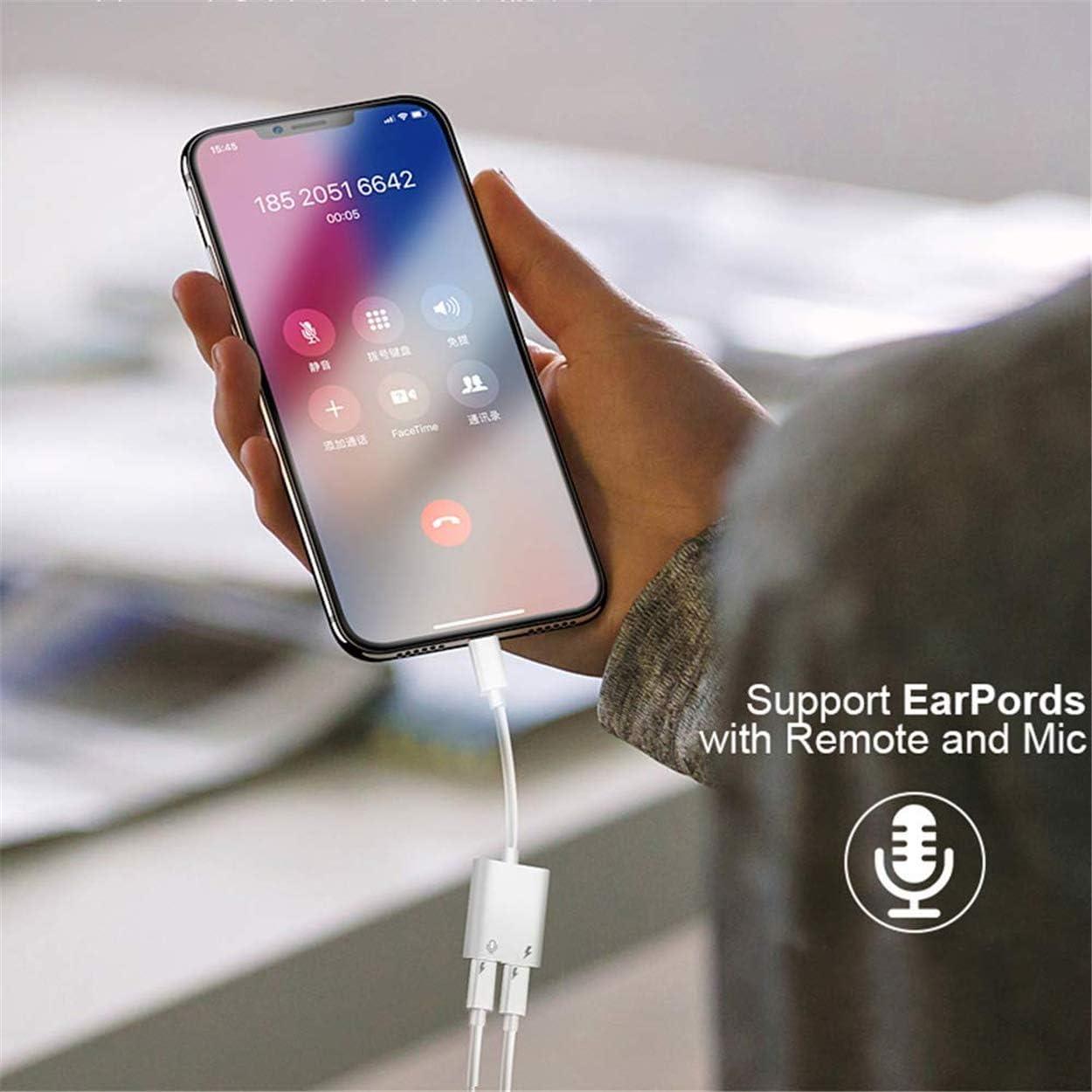 Adaptateur Casque pour iPhone Xr AUX Adaptateur Double Ecouteur et Adaptateur C/âble pour iPhone 7//7Plus//8//8Plus//X//Xs//11//11Pro Convertisseur Audio T/él/éphone Volume Contr/ôle SoutenirTous Les iOS-Blanc