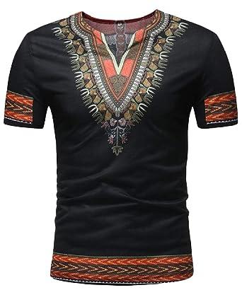 1fd5c80f9 Wofupowga Mens Floral Print V Neck Africa Ethnic Style Fashion Top Tee T- Shirts Black