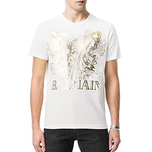 e92957c2d Pierre Balmain Koi & Logo Gold Print Tee, White (Regular Price $250) (EU 52  (XL)) | Amazon.com