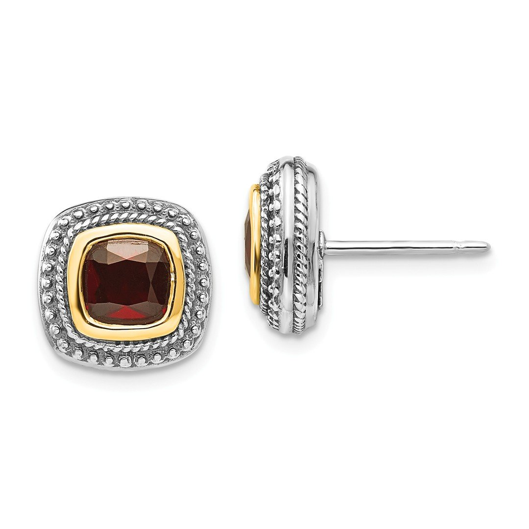 ICE CARATS 925 Sterling Silver 14k Red Garnet Post Stud Ball Button Earrings Fine Jewelry Gift Set For Women Heart
