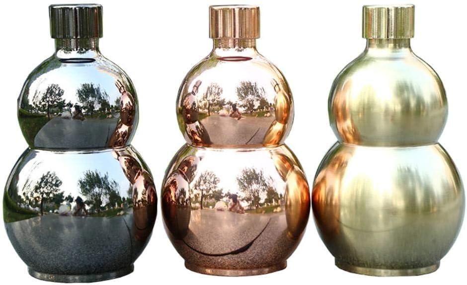 Piner 64oz Calabaza Copa de Vino Olla Frasco de Cadera Whisky para Alcohol Botella 1.57KG Gran Capacidad Acero Inoxidable Whisky Oro Rosa Color Negro, Oro 64oz