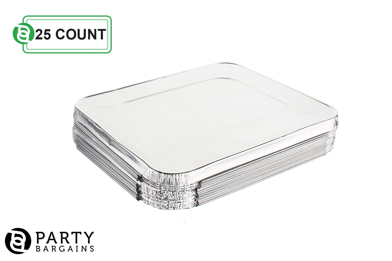 Aluminum Foil Pans   Disposable Pan Containers with Lids Set   Excellent for Broiling, Roasting, Grilling, Baking Cakes, Pies, Lasagna, More   9 x 13 Half Size Deep Steam Table Pans   25 Count by Party Bargains (Image #4)
