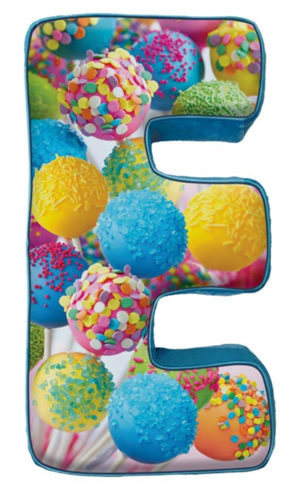 iscream Lettermania E Initial 16'' Cake Pop Print Fleece Back Microbead Pillow by iscream