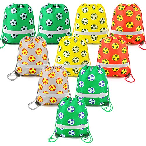 Soccer Party Bags (Soccer Ball-Party-Supplies-Favors-Bags Reflective Sports Drawstring Backpack Bags Bulk 10)