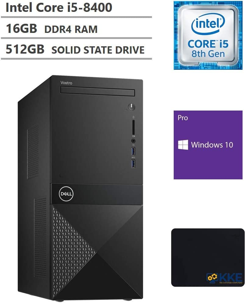 Dell Vostro 3000 Tower Business Desktop, Intel Core i5-8400 Six-Core Processor up to 4.0GHz, 16GB Memory, 512GB Solid State Drive, HDMI, VGA, DVD, Wi-Fi, Bluetooth, Windows 10 Pro, Black, KKE Mousepad