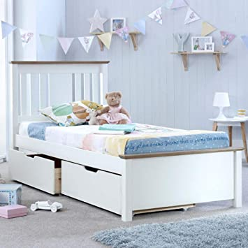 Happy Beds Chester Solo Wooden Bed White And Oak Frame With 2 Underbed Storage Drawers 3 Single 90 X 190 Cm