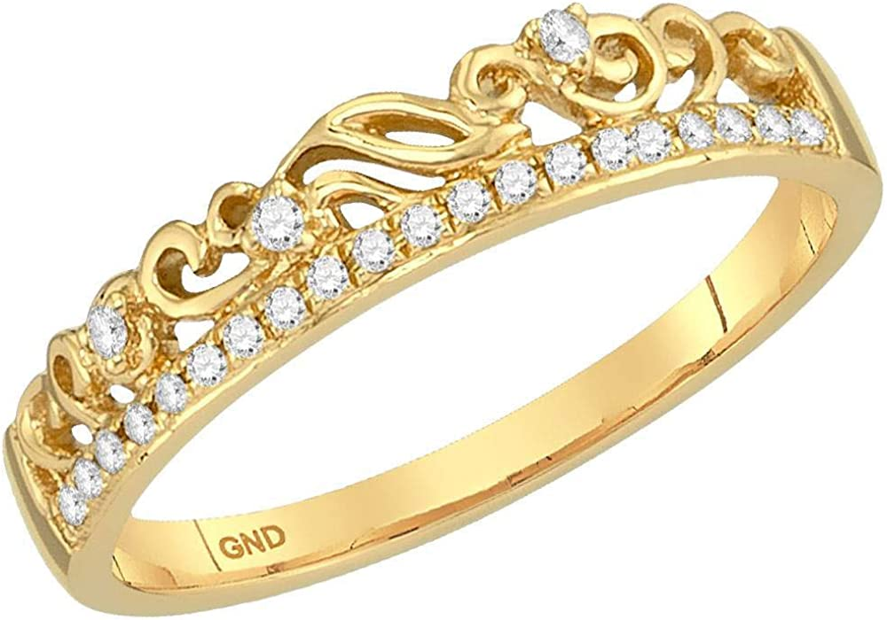 10k Yellow Gold Diamond Floral Accent Fashion Ring Stackable Band Style 1//12 ct