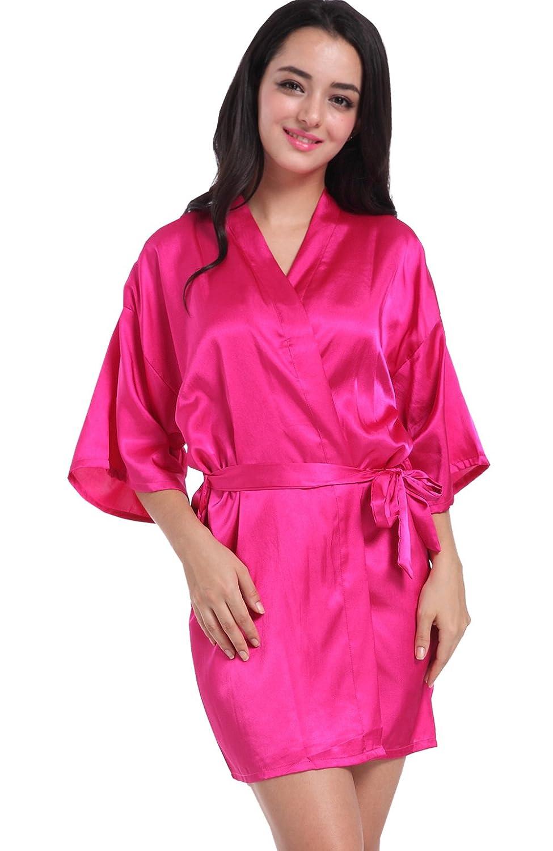 Admireme Women's Kimono Robes Satin Solid Colour