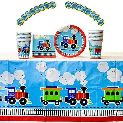 All Aboard Train Party Supplies Pack for 16 Guests |16 Thank You Stickers, 16 Dessert Plates, 16 Beverage Napkins, 16 Cups, and 1 Table Cover | Perfect Train Birthday Party Supplies, Train Decorations]()