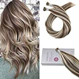 Bleaching Hair Experience - Moresoo 16 Inch Human Hair I tip Extensions Piano Color #9A Brown Highlights with Platinum Blonde Hair Extensions 50g 1g/1s 100 Remy Human Hair Extensions Tips