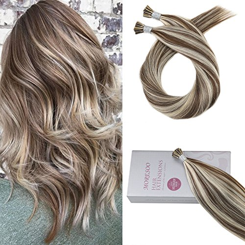 Moresoo Pre Bonded Stick I tip Hair Extensions 14 Inch #9A Brown Highlighted with Blonde #60 Keratin Tipped Hair Extensions 50g 50 (Blonde Big Stick)