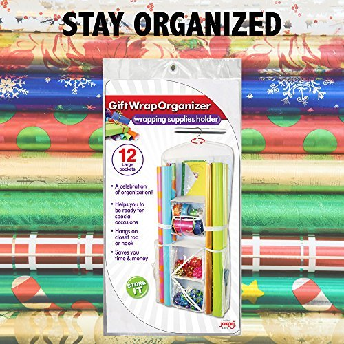 Jokari Gift-Wrap and Bag Organizer, Storage for Wrapping Paper (All Sized Rolls), Gift-Bags, Organize Your Closet With This Hanging Bag and Box Organization Tool, Features Clear Pockets and Hook Hangs by Jokari