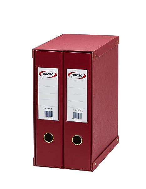Pardo 924202 - Módulo forrado, 2 archivadores palanca, color rojo