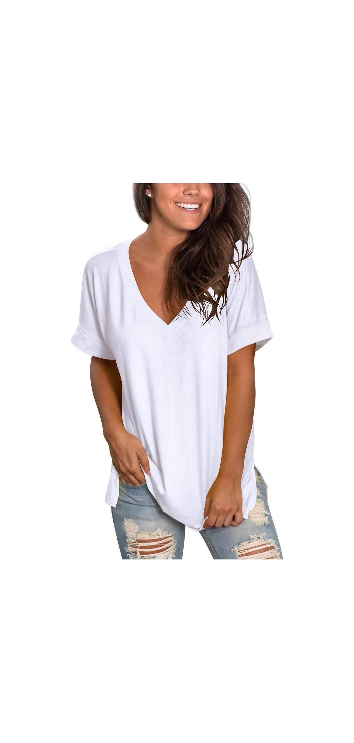 Women's V Neck T Shirt Rolled Sleeve Side Split Tunic