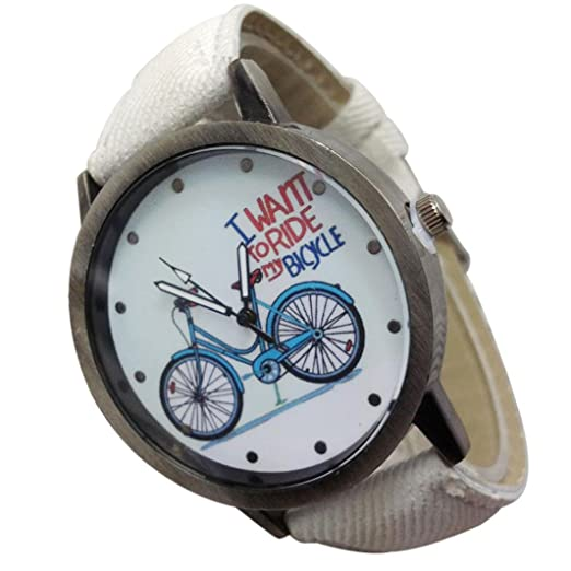 Watch, PU Denim Strap Vintage Watch Denim Bicycles Male And Female Students Couple Table (