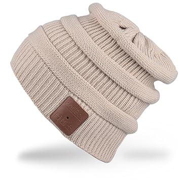 unisex Bluetooth música sombrero de lujo suave cálido sombrero auriculares inalámbricos auriculares auriculares micrófono… kDZS2
