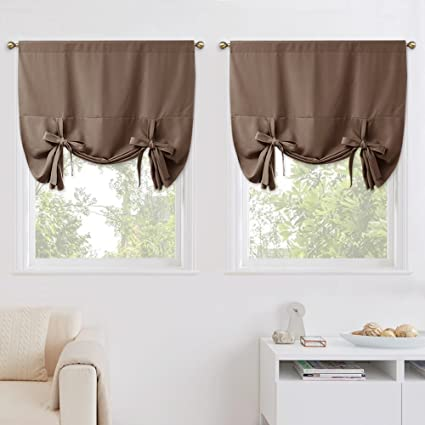 Nicetown Balloon Shade Blackout Window Curtains Thermal Insulated Tie Up Blinds For Narrow Window Set Of 2 Panels Tan Cappuccino Rod Pocket